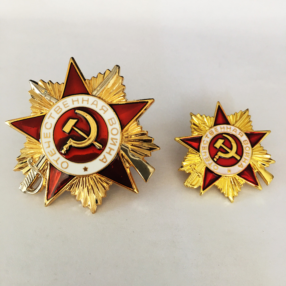 2 Pieces/lot Russia Cccp medal Metal Badges for clothes ww2 USSR Soviet Military Red Star Russian Army Lapel Pins Silver&Gold