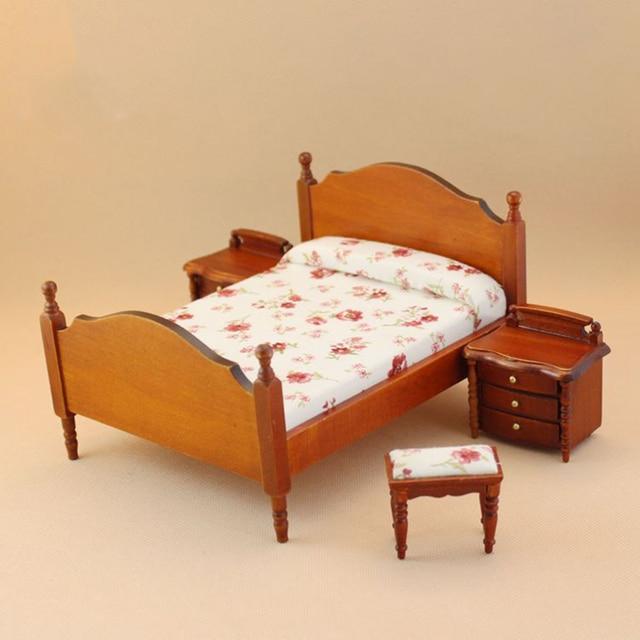 112 Dollhouse Miniature Braun Bett Nachttisch Für Puppen Holz Möbel