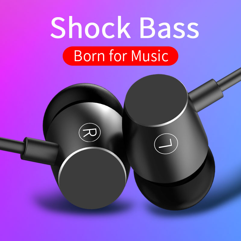 Metal Sports Wire Earphone With Microphone Stereo Gaming Headphone Music Earbuds Earphone For Huawei Xiaomi PC fone de ouvido magnetic attraction bluetooth earphone headset waterproof sports 4.2