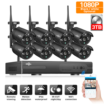2MP CCTV sistema 1080P 8ch HD inalámbrico NVR kit 3TB HDD al aire libre IR noche Wifi IP cámara de seguridad sistema de videovigilancia Hiseeu
