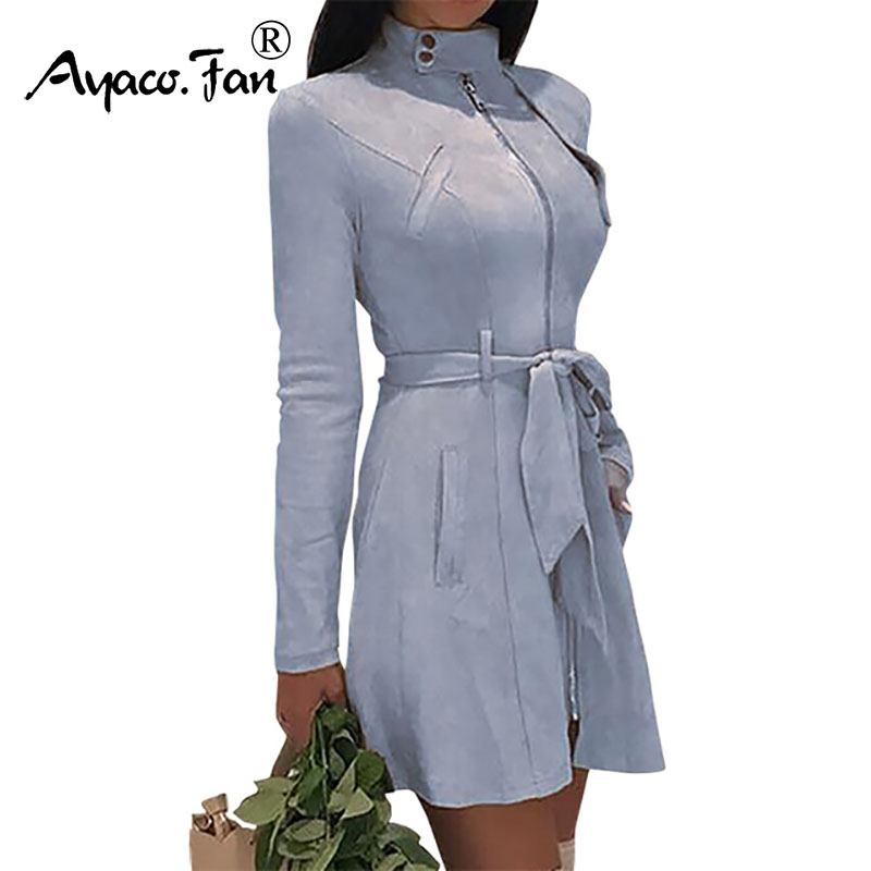 2019 Office Lady Faux Velvet   Trench   Autumn Winter Turtleneck Women Solid Zipper Long Coat Female Belt Slim Woolen Blends Outwear