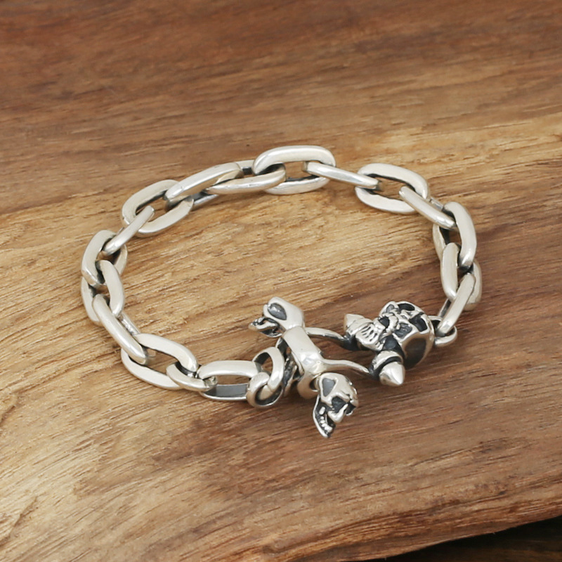 Wholesale S925 Sterling Silver Jewelry Men's Fashion Handmade Retro Thai Silver Long Ring Buckle Bracelet