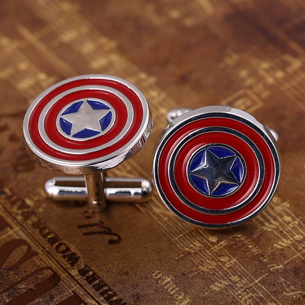 Hot Men Shirt Cuff-Link Captain America Stars Shield Novelty Men Alloy Cufflinks Christmas gift Sleeve Button