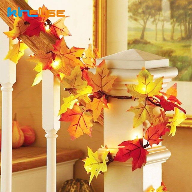 Christmas Decorations Lighted Fall Garland DIY Maple Leaf Halloween LED  String Lights Battery Fariy light Thanksgiving