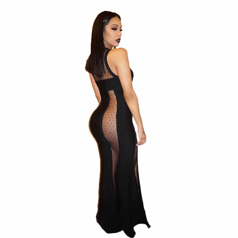ddbaa03184841 2018 Summer Side Slit Sexy Lace Dresses Sleeveless Maxi Gown Side Cut Lace  Black Gothic Dress Long Evening Gowns Dresses Robe