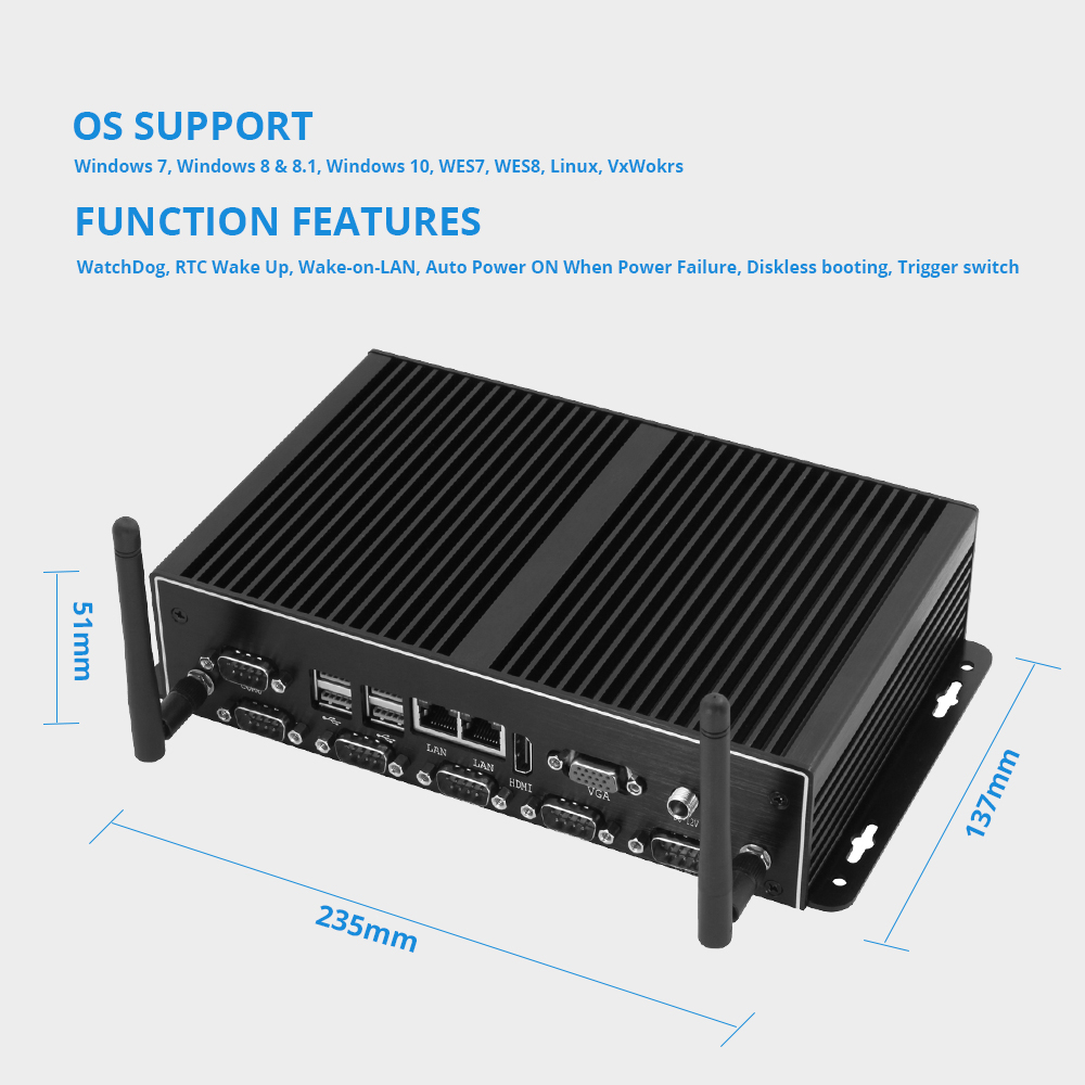 Image 3 - Fanless Intel Core i7 4500U Mini PC Windows Dual Gigabit Ethernet WiFi 6*RS232/485 8*USB HDMI VGA 4G LTE Industrial Micro PC-in Mini PC from Computer & Office