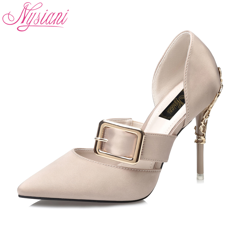 2018 Sexy High Heels Women Dress Sandals Metal Decoration Cover Heel Slip-on Fashion Thin Heel Women Pointed Toe Sandals Nysiani sexy gold metal decoration high heel pumps pointed toe thin heels slip on women party dress shoes formal wedding dress shoes