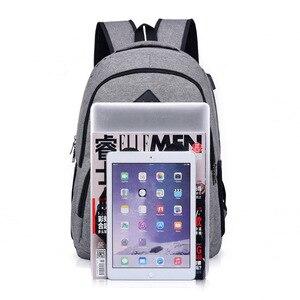 Image 4 - 15.6 인치 안티 절도 노트북 가방 USB 충전 남성 캔버스 배낭 여행 학교 가방 남자 배낭 틴 에이저 SchoolBag Mochila