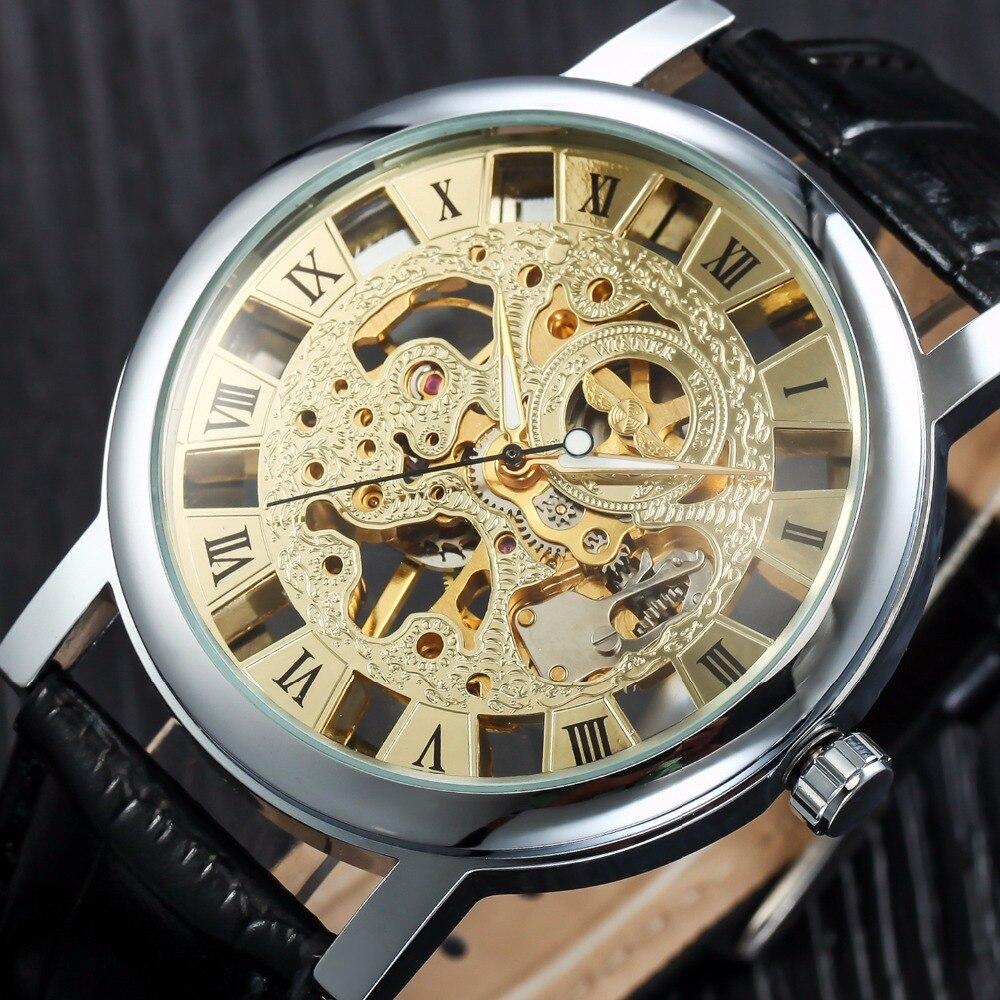 2018 neue Mechanische Uhren Leder Band Männlichen Kleid Uhr Luxus Marke Goldene Skeleton Uhr Relogio Releges