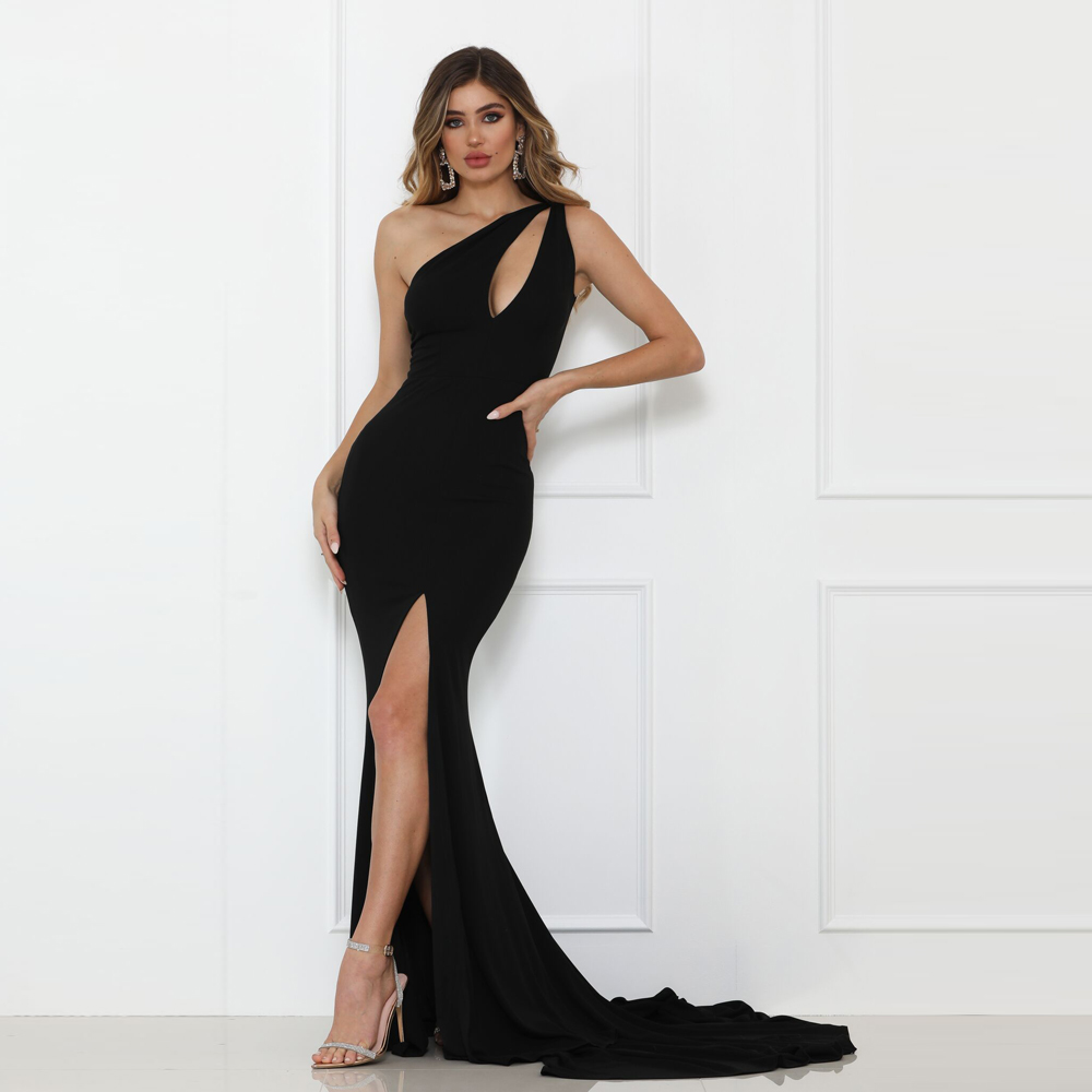One Shoulder Black Split Front Maxi Dress Stretch Sleeveless Party Dress Floor Length Backless Hollow Out