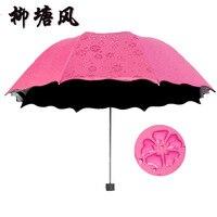 Sıcak Satış Yaz Güneş Kadınlar Yağmur Katlanır Şemsiye Su Şemsiye Siyah Kaplama Ile Blossom Paraguas Parapluie