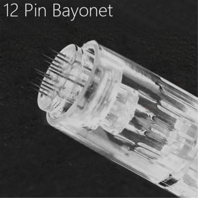 Cartucho Derma Pen de bayoneta con aguja de 12 Pines, 10 Uds., para Derma Pen eléctrico automático, Nano punta de aguja de 12 pines