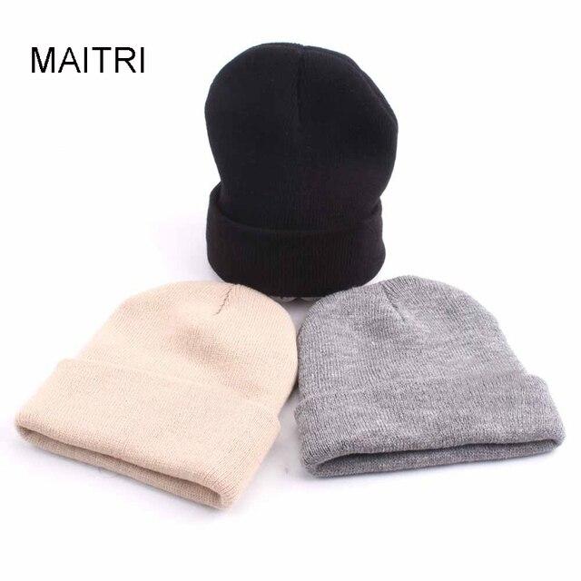 MAITRI 2018 New Fashion Beanie Cap Women Men Black Gray Beige Red Royal Blue  Warm Knit Winter Hats Bonnet Homme Gorra Hombre fcdd141e903