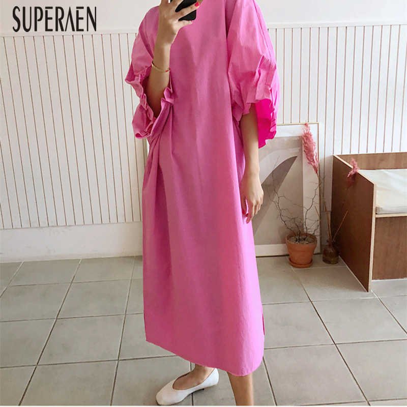 SuperAen New Korean Style Women Long Dress Summer 2019 Temperament Ladies Dress Big Size Solid Color Women Clothing