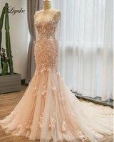 Элегантный Милая Свадебные платья Русалочки естественной талии с куртка аппликации 3D Вышивка невесты платье liyuke настроить