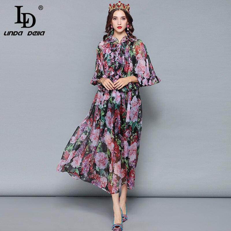 LD LINDA DELLA Mode Designer Sommer Urlaub Kleid frauen Mantel Hülse Rüschen Vintage Floral Print Chiffon Elegantes Kleid-in Kleider aus Damenbekleidung bei  Gruppe 3