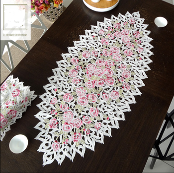 Elegant Embroidery Table Runner Pastoral Fabric Tea tablecloth, Luxury Table mat table Cover for decoration50*110cm