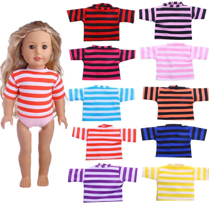 ZWSISU 10 colors striped T-shirt for 43cm Baby Born zapf doll ,18 inch American girl doll ,Doll Accessories