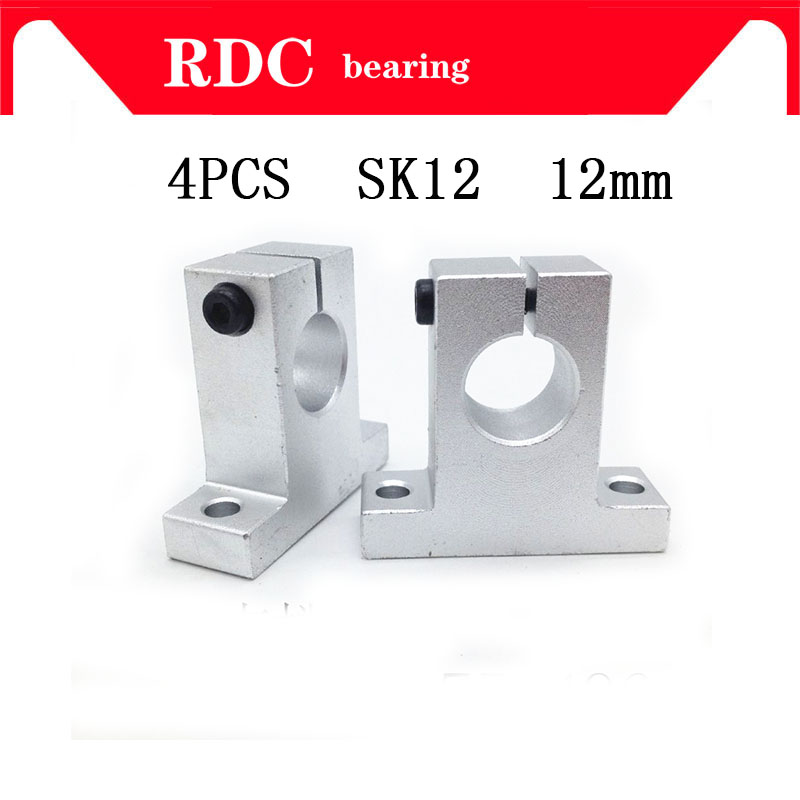 4pcs-lot Free Shipping SK12 12mm High quality linear bearing rail shaft support XYZ Table CNC Router