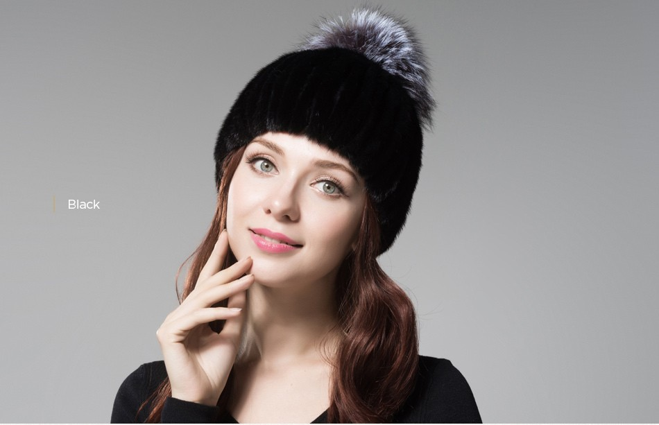 mink fur winter hats for women PCM010 (22)