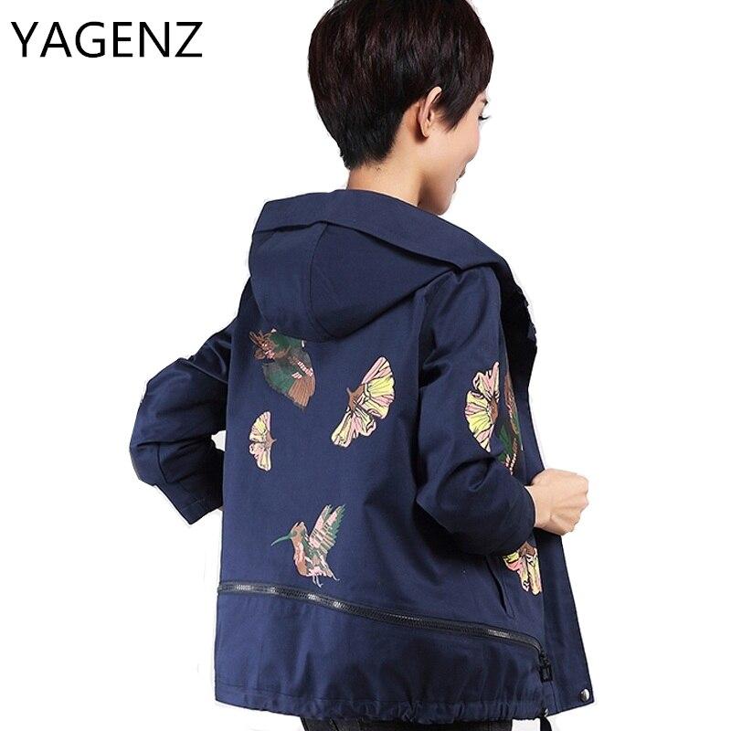YAGENZ Spring Autumn Women Windbreaker Jacket Fashion Loose Short Coat Casual Tops Women Zipper Hooded Jacket