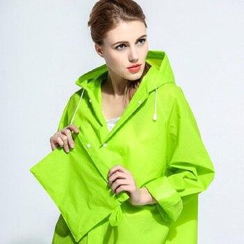 Nova Eco Verde À Prova D' Água Geléia EVA Transparente Rainwear Poncho Blusão Homens E Mulheres Capa De Chuva Com Capuz Ao Ar Livre