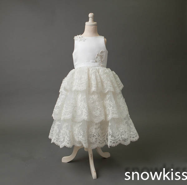 White/ivory lace communion flower girl dresses for wedding birthday baby party frocks beautiful ankle-length tiered ball gowns new white ivory nice spaghetti straps sequined knee length a line flower girl dress beautiful square collar birthday party gowns