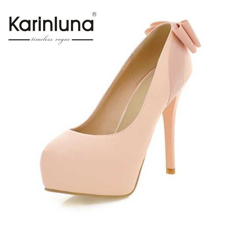 ФОТО Women Shoes Mature Style Shoes Women Sweet Butterfly-Knot Round Toe Platform Women Pumps Thin High Heels Party Wedding Shoes