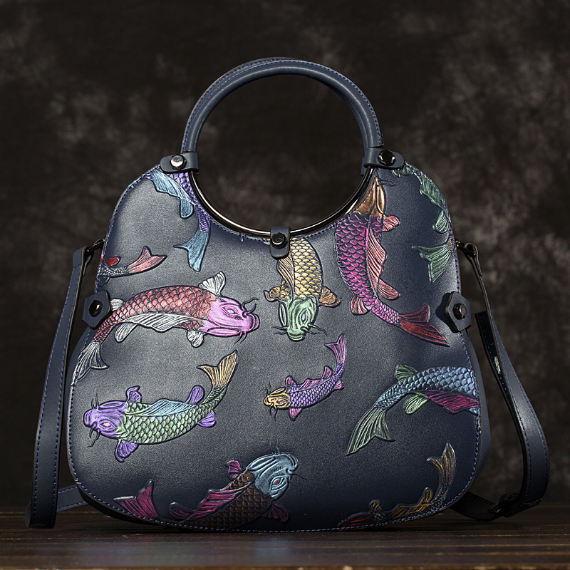 High Quality Real Cowhide Embossed Handbag Tote Messenger Bag National Style Red Fire Fish Genuine Leather