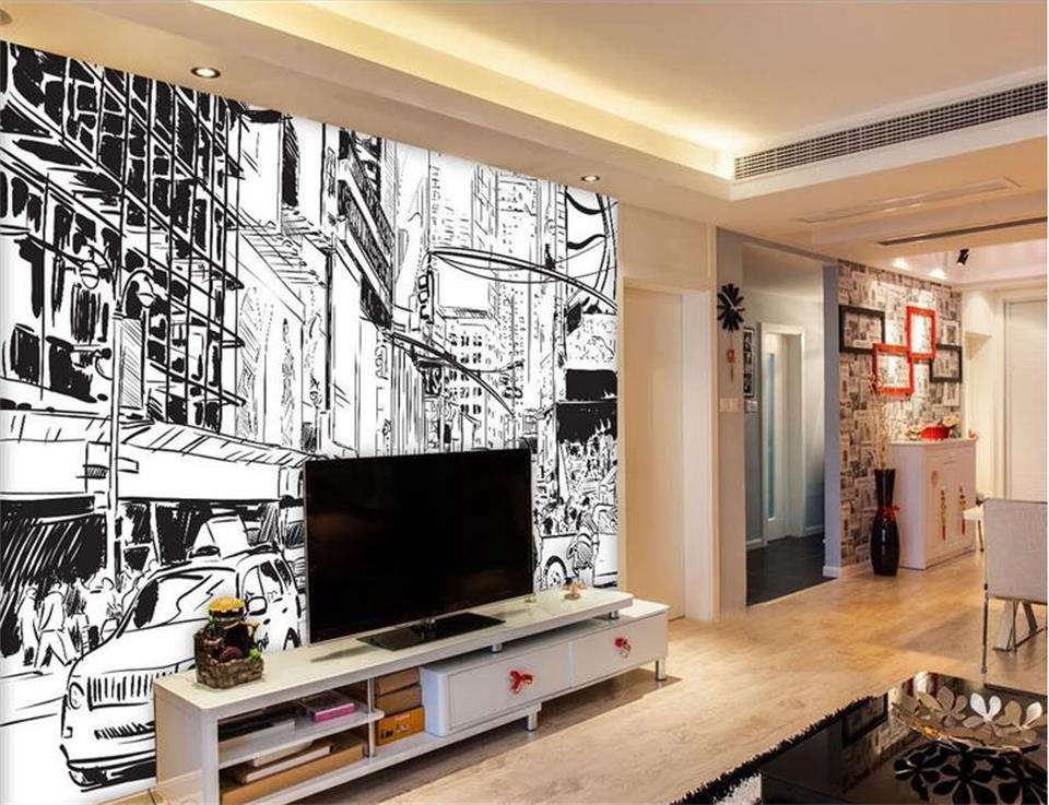 custom 3d photo wallpaper mural Black and white line drawing city landscape Painting photo wallpaper Living room non-woven mural custom baby wallpaper snow white and the seven dwarfs bedroom for the children s room mural backdrop stereoscopic 3d