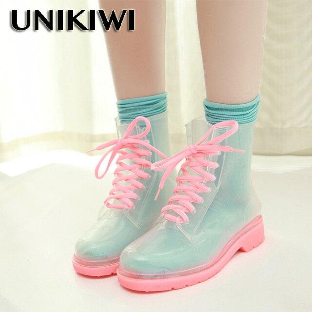 Klar Regen Stiefel Ankle Wasserdicht Transparent Jelly Shoe Booties t1g2WUCgWl