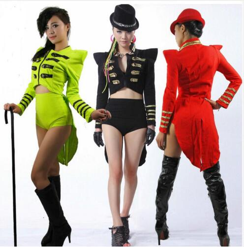 Fashion New style sexy Neon color jazz female singer clothes double breasted tuxedo outerwear stage wear