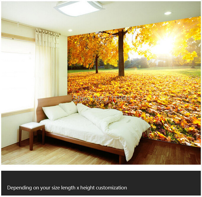 Free shipping custom large 3D mural kitchen living room bedroom TV backdrop wallpaper mural Maple woods natural beauty free shipping personalized custom 3d fresh bamboo living room sofa backdrop wall large mural waterproof wallpaper