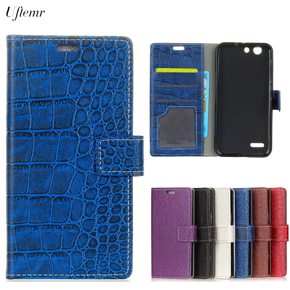 Uftemr Vintage Crocodile PU Leather Cover for Vodafone Smart E8 Silicone Case for Vodafone Smart E8 Wallet Card Slot Acessories