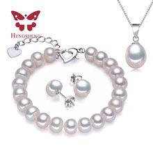 HENGSHENG Real Brazalete de Perlas Colgante Pendientes Tres Sistemas de La Joyería para Las Mujeres del Collar/Pendiente/Pulsera de La Joyería de la Boda