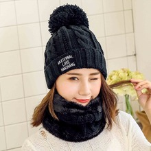 2018 Pom Poms Winter Hats Women Beanie hat Scarf Hat Set Solid For Girls Thicken Skullies Beanies