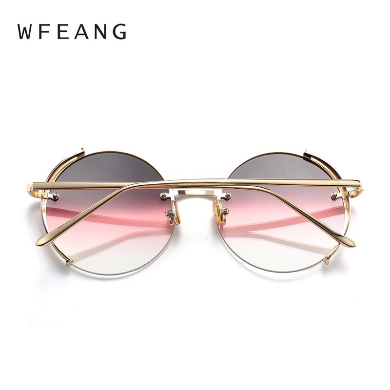10dcacdb5f0 WFEANG Ladies Elegant Round Sunglasses Women 2018 New Designer Metal Frame  gradual change Ocean Sun Glasses-in Sunglasses from Apparel Accessories on  ...