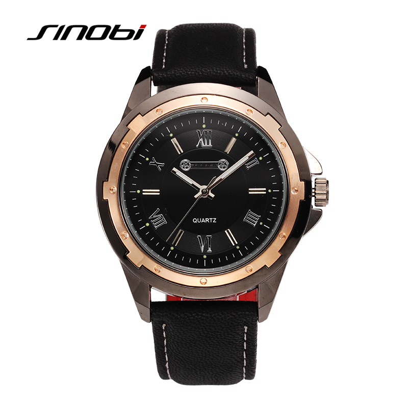SINOBI Mens Watches Top Brand Fashion Sports Military Watches Men Leather Band Quartz Analog Wristwatches Hour Relogio Masculino sunward relogio masculino saat clock women men retro design leather band analog alloy quartz wrist watches horloge2017