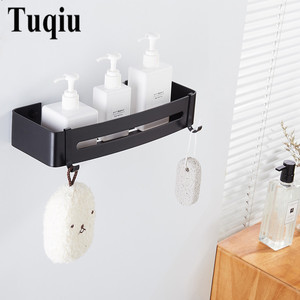 Image 5 - Corner Shelf Wall Mounted Black Aluminum Bathroom Soap Dish Bath Shower Shelf Bath Shampoo Holder Basket Holder Corner shelf