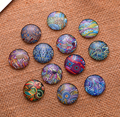 24X   12mm Geometrical element pattern Round  Handmade Photo Glass Cabochons & Glass Dome Cover Pendant Cameo Settings
