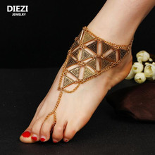 DIEZI one piece Vintage Metal Ankle Bracelet Wedding Barefoot Sandals Beach Foot Jewelry Sexy Leg Chain Boho Crystal Anklet