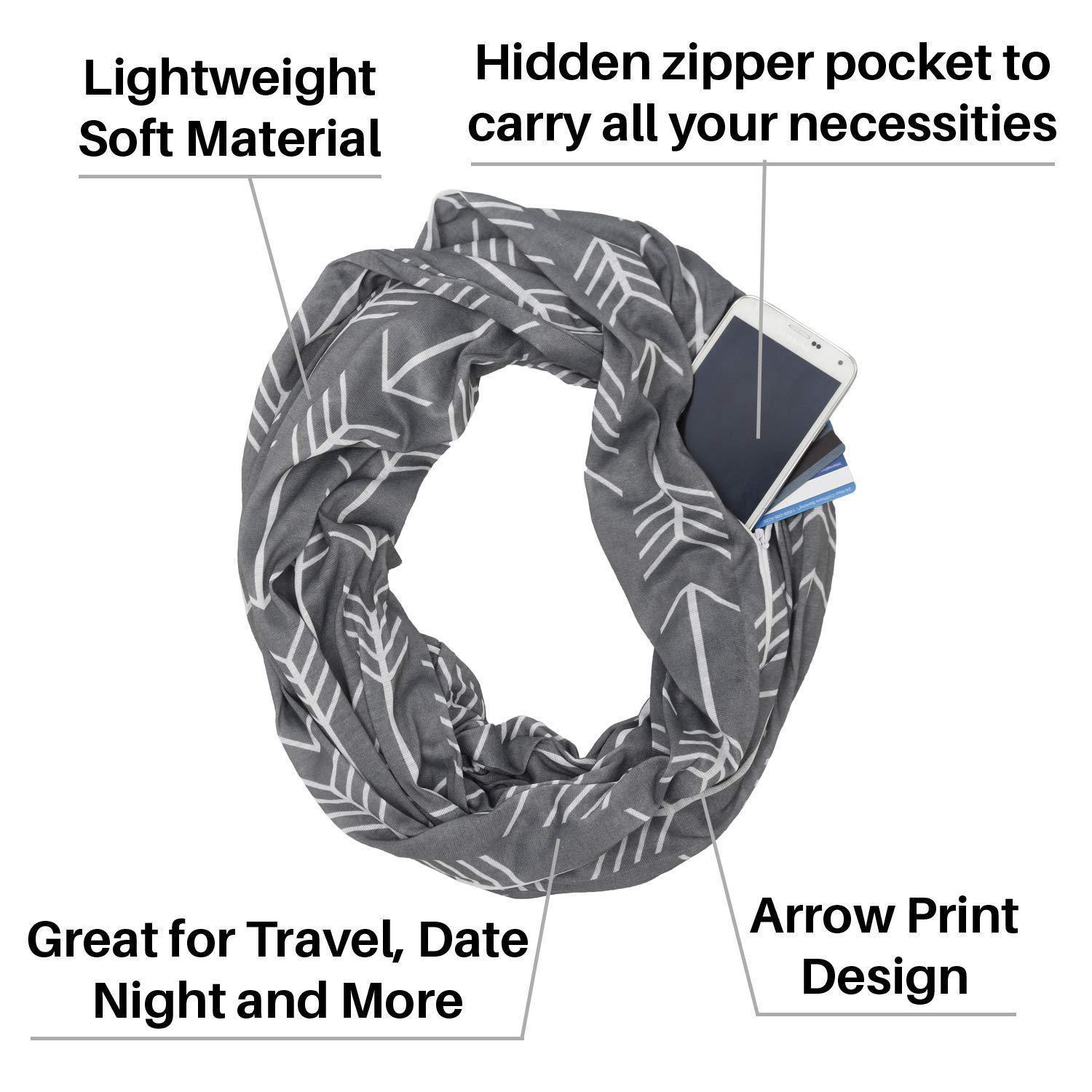 Black Womens Arrows Pattern Infinite Scarf with Convertible White Zipper Pocket Travel Scarves Wrap Scarf