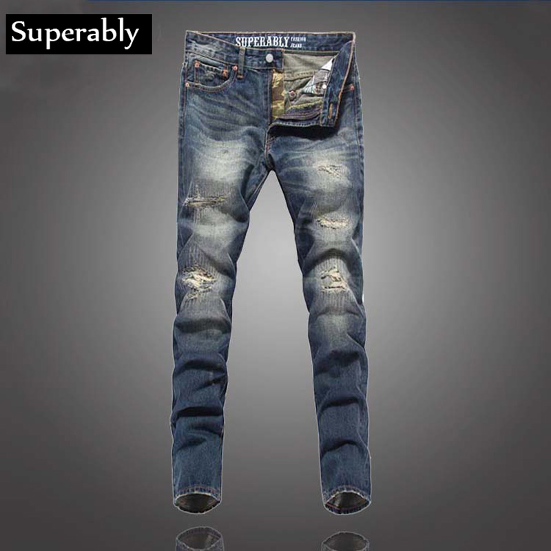 Superably Brand Men Jeans High Quality Slim Straight Destroyed Ripped Jeans For Men Fashion Street Biker Jeans Men Denim Pants 2017 fashion mens patch jeans slim straight denim biker jeans trousers new brand superably jeans ripped dark jeans men u329