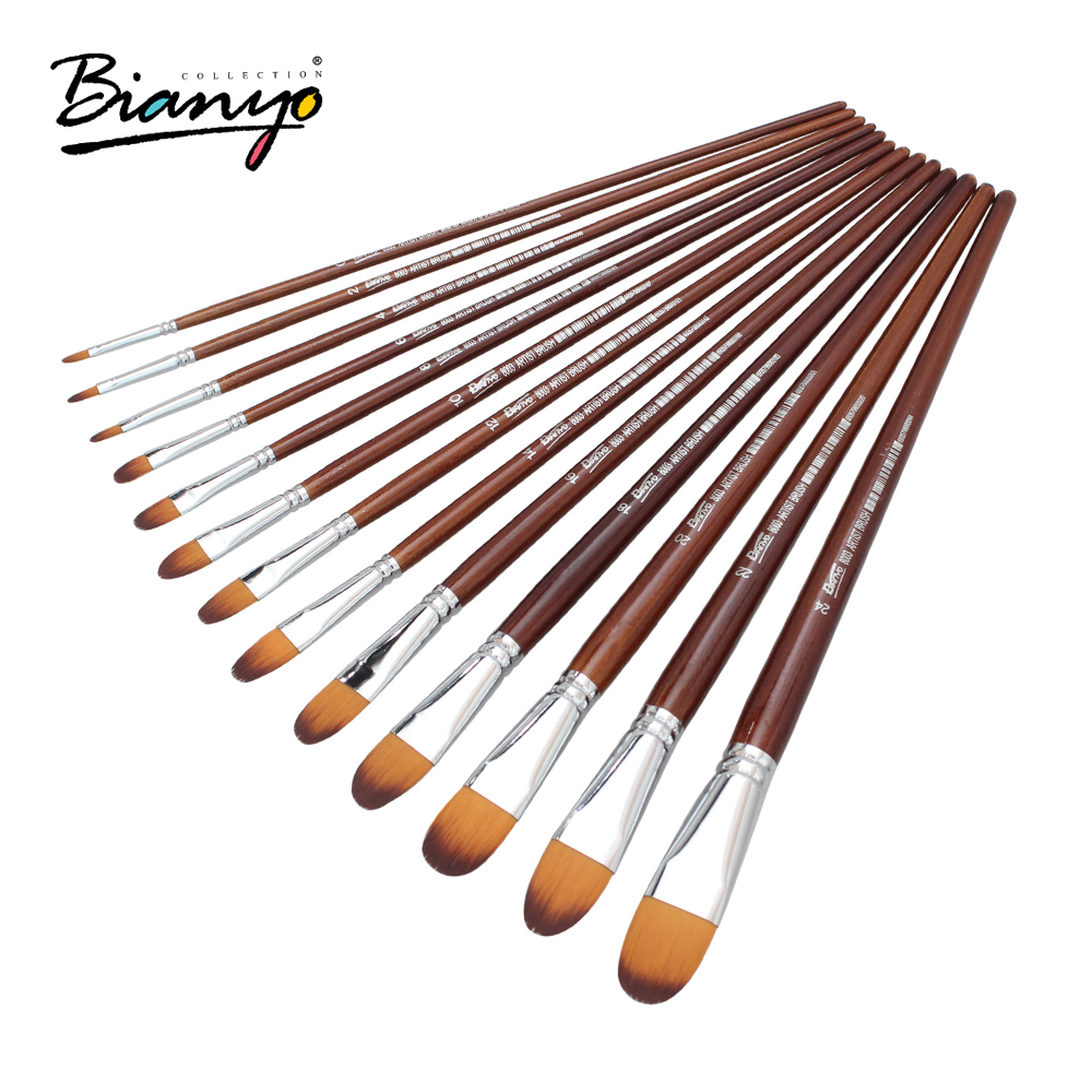 Bianyo 13Pcs Artist Filbert Nylon Hair Acrylic Painting Brush Set For School Children Drawing Tool Watercolor Brush Art Supplies