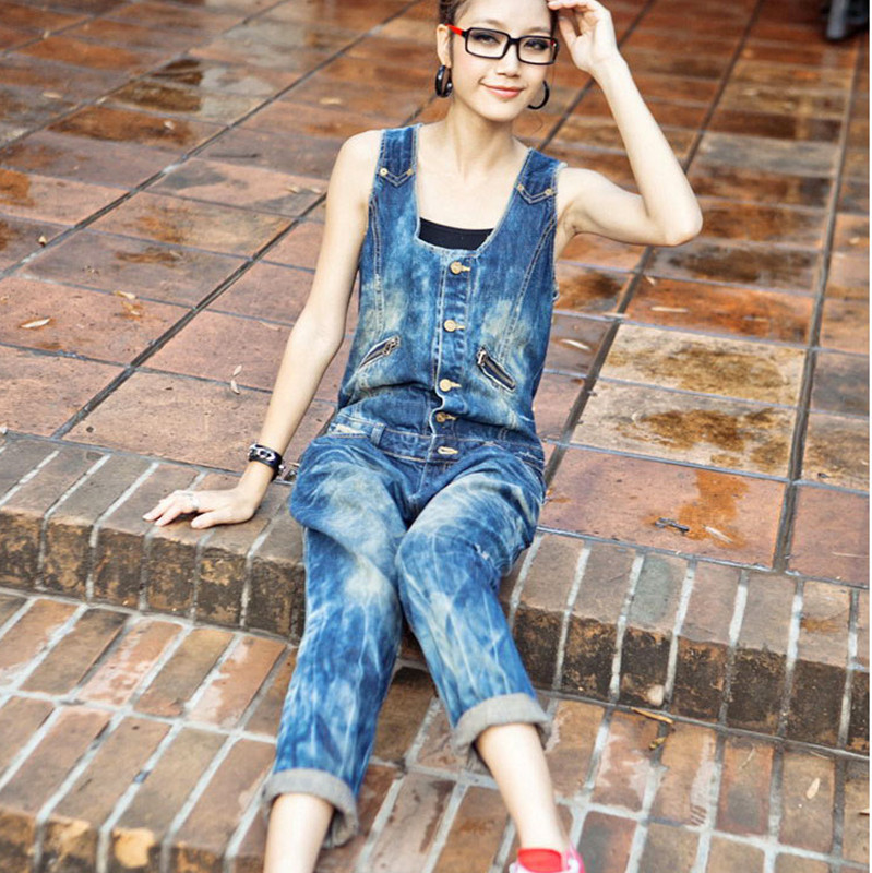 Free Shipping 2020 Fashion Ladies overalls Pants High Quality Denim Jeans Loose Summer Capri Jumpsuits And Rompers Summer M L