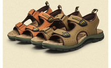 Новый 2016 Лето Повседневная Мужчины Качество Кожаные Сандалии Бренда Сандалии мужские Тапочки Из Натуральной Кожи Воловьей Кожи Сандалии Обувь Для Человека