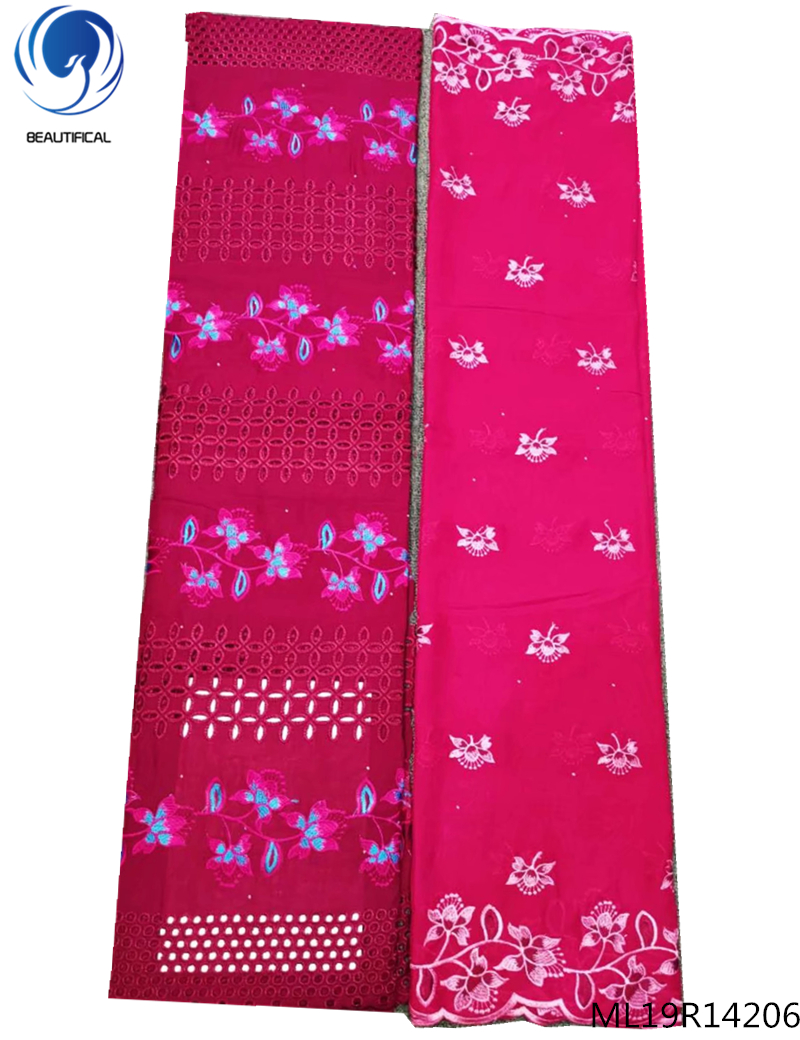 BEAUTIFICAL pink lace fabric with soft scarf embroidery lace fabric 2019 arrival swiss lace fabric top quality 5+2yards ML19R142
