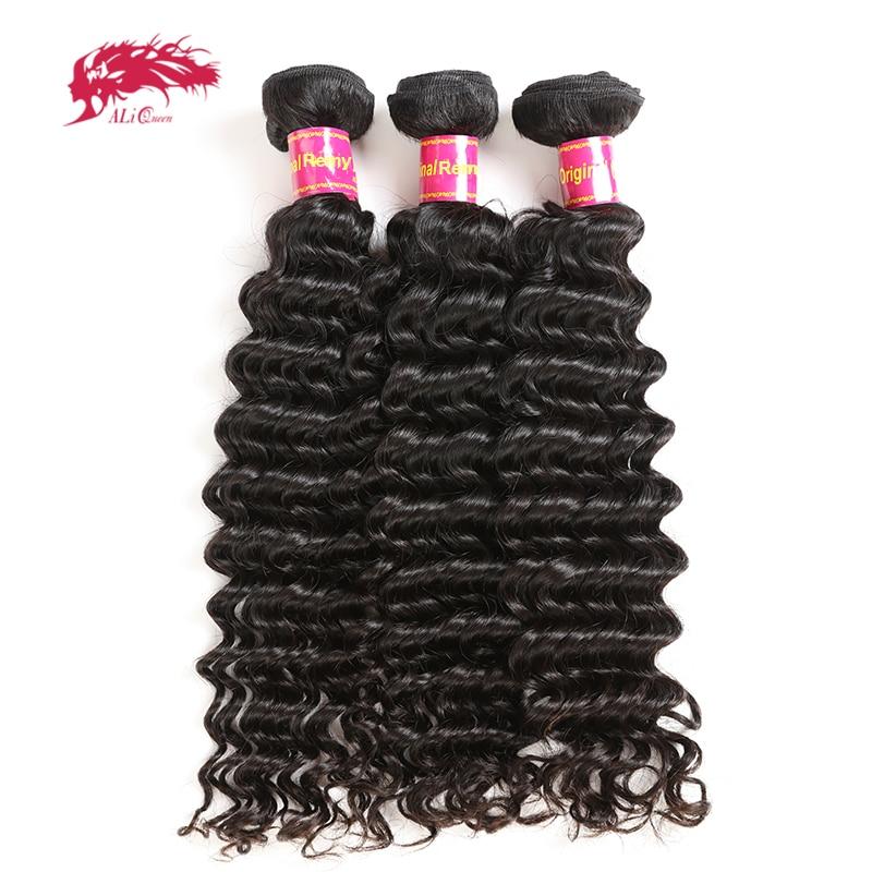 3 pcs Vague Profonde Brésiliens Cheveux Weave Bundles Remy Cheveux Tissage de Cheveux Humains Extension Couleur Naturelle # 1B Ali Reine cheveux Produits