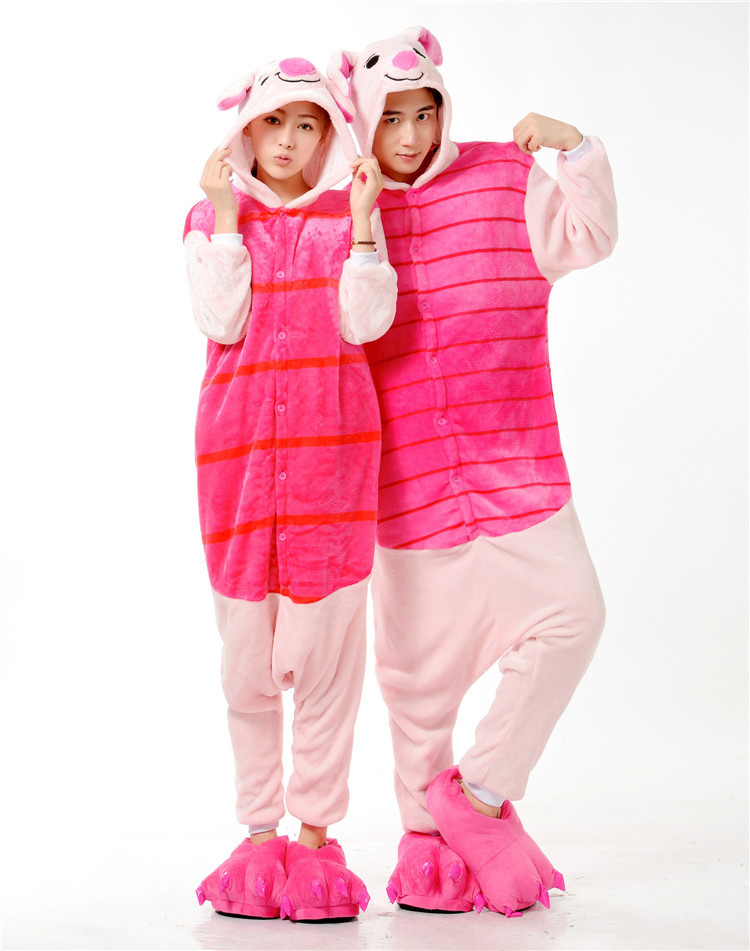 Thick Soft Flannel Piglet Pig Onesies Pajama Cosplay Costume Halloween Carnival Party Clothing