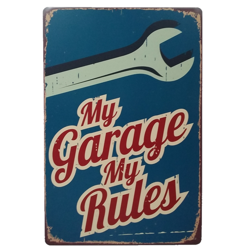 Vintage car tin Signs Bar Pub Home Wall Decor Retro Metal Art Poster Metal Plate Plaques Vintage Retro Bar Sign garage rule sign in Plaques Signs from Home Garden
